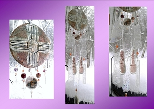 Zia Sun Glass Wind Chime Pottery Chimes Hopi Sun Catcher New Mexico Art