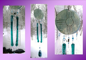 Zia Sun Glass Wind Chime Pottery Chimes Teal Blue Hopi Sun Catcher New Mexico Art