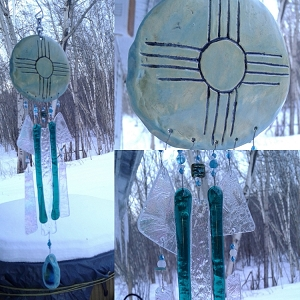 Zia Sun Glass Wind Chime Pottery Chimes Sea Green Hopi Sun Catcher New Mexico Art