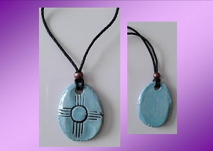 Zia Sun Necklace Ceramic Pendant Native American Solar Symbol Amulet