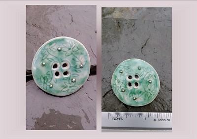 1 Large Sea Turquoise Ceramic Button Pottery Silver Stone Sewing Accessories