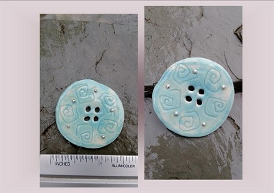 1 Large Turquoise Ceramic Button Pottery Silver Stone Sewing Accessories