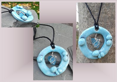 Turquoise Sea Glass Necklace Circle Ceramic Pendant Stone