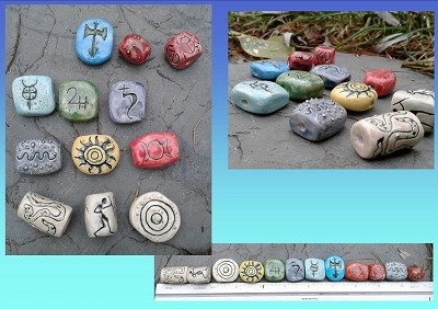 12 Ceramic Pendants Tribal Wiccan Egyptian Urantian Clay Beads Amulets Macrame DIY Supplies