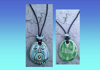 Mayan AHAW Necklace Turquoise Green Lord Glyph Pendant Mesoamerican Ceramic Tzolk'in Day Sign Amulet