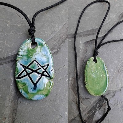 Aquarian Star Necklace Turquoise Green Unicursal Hexagram Pendant Seal of Orichalcos Amulet