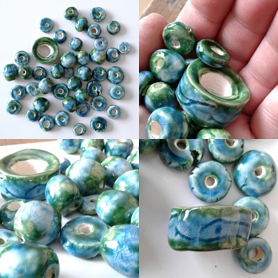 Set 43 Turquoise Green Snake Ceramic Macrame Beads Ocean Sea Beach Various Shapes & Sizes