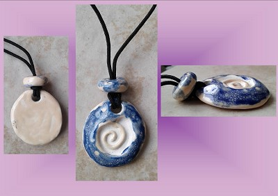 Celtic Spiral Clay Aromatherapy Necklace Ceramic Cobalt Blue Cream Essential Oil Diffuser Disc Pendant .2