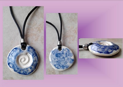 Celtic Spiral Clay Aromatherapy Necklace Ceramic Cobalt Blue Essential Oil Diffuser Disc Pendant