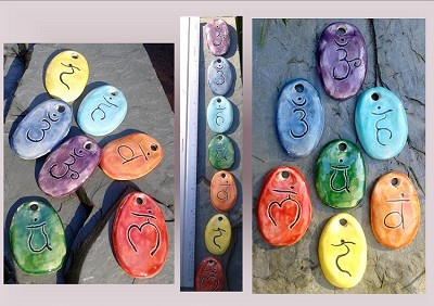7 Chakra Pendants, Rainbow Ceramic Beads, Sacred Chakra Pottery Beads, Jewelry Supplies, Handmade Stone Pendants, Focus Beads