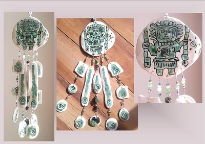 Incan Pottery Wind Chime Chavin Staff Deity Sea Turquoise Ceramic Clay Mobile Peruvian Stone Art