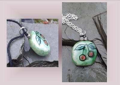 Cherry Necklace Ceramic Stone Pendant Fruit Celadon Green Pottery
