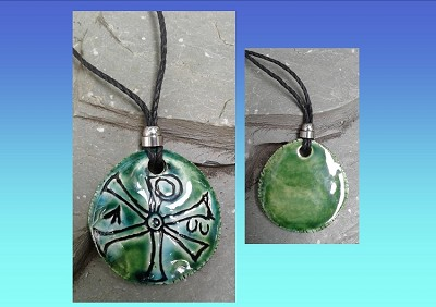 Chi Rho Necklace Turquoise Green Ceramic Pendant Good Fortune Pagan Jewelery Pottery Amulet Chronos God of Time