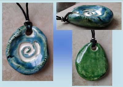 Spiral Aromatherapy Necklace Turquoise Green Ceramic Essential Oil Diffuser Pendant Celtic Clay Amulet