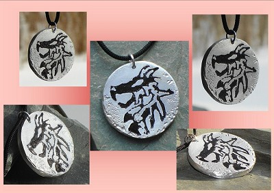 Dragon Metal Necklace, Aluminium Metal Etched Dragon Pendant, Fantasy Jewelry, Petrogylyph Art