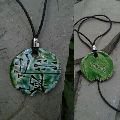 Cuneiform POWER Necklace Sumerian Pendant Green Ceramic EMUQ Amulet