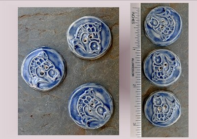 3 Ceramic Celtic Fish Pottery Buttons, Fishing Notions, Blue Ceramic Stone, Handmade Sewing Knitting Supplies
