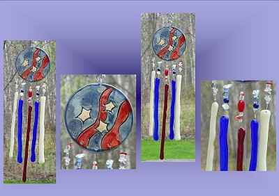 American Flag Ceramic Windchime, Stars and Stripes Glass Art, Red Blue White Garden Decor, Stained Glass, Window Suncatcher, Hanging Mobile .2