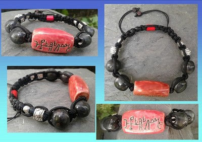 Archangel Gabriel Bracelet Angel Sacred Sigil Ceramic Beads Red Black Angel Bracelet