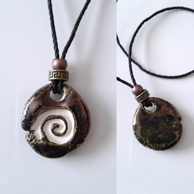 Spiral Aromatherapy Necklace Burnished Gold Ceramic Essential Oil Diffuser Pendant