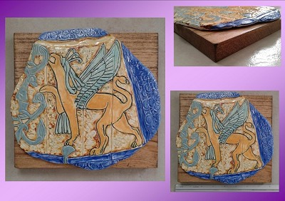 Anzu Sumerian Tile on Wood Plaque Griffin Ceramic Wall Art Akkadian Imdugud Anunnaki Mythology