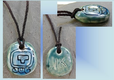 Mayan IK Wind Ceramic Necklace Mesoamerican Tzolk'in Day Sign Amulet Turquoise Teal Aztec Pottery