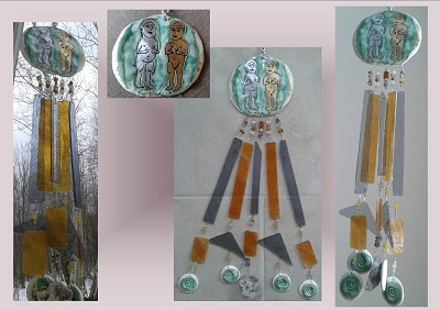 Gold Silver Incan Pottery Glass Wind Chime Inta and Quilla Sun God Moon Goddess Gold Silver Ceramic Mobile Andean Peruvian Art