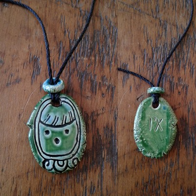Mayan I'X Necklace Mesoamerican Tzolk'in Day Sign Jaguar Glyph Ceramic Amulet Turquoise Green