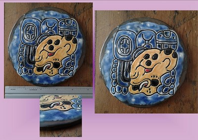 Divine Jaguar Lord Ceramic Tile Decorative Mayan Mesoamerican Glyph Wall Decor