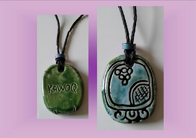 Mayan KAWOQ Necklace Mesoamerican Tzolk'in Day Sign Thuner Glyph Ceramic Amulet Turquoise Green