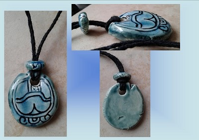 Mayan KIB Candle Glyph Necklace Turquoise Teal Mesoamerican Tzolk'in Day Sign Ceramic Amulet