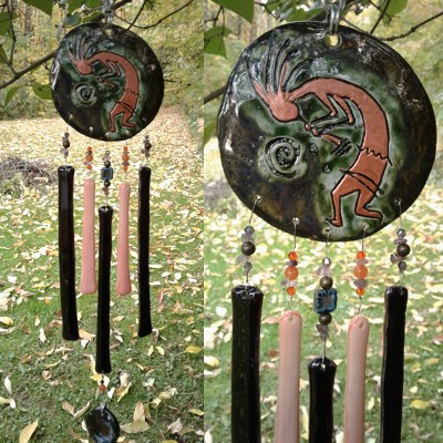 Kokopelli Glass Wind Chime Turquoise Copper Pottery Chime Hopi Petroglyph Garden Ornament