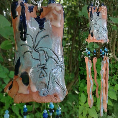Kokopelli Zia Sun Terra Cotta Wind Chime Pottery Chimes Turquoise Hopi New Mexico Garden Decor