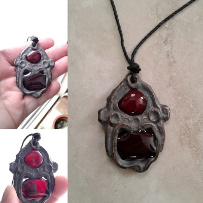 Mayan Necklace Blood Red Pendant Ceramic & Glass Mesoamerican Eye of Kukulkan Feathered Serpent Amulet