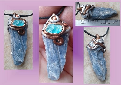 Blue Kyanite Necklace Crystal Bronze Silver Pendant with Blue Apatite Chunky Tripping Stone Balancing