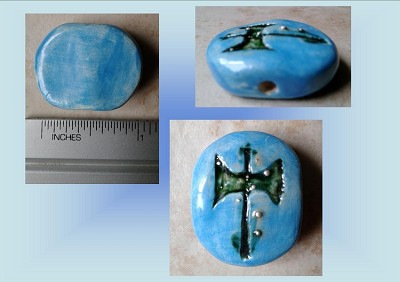 Turquoise Labrys Hellenic Ceramic Pendant Double Headed Axe Focal Clay Bead