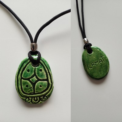 Mayan LAMAT Necklace Mesoamerican Tzolk'in Day Sign Star Glyph Ceramic Amulet Turquoise Green