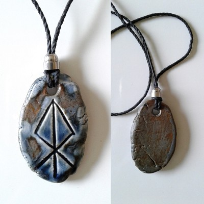 LOKI Necklace Blue Bronze Ceramic Norse Runestone Pendant Viking Amulet Trickster God