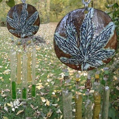 Marijuana Glass Wind Chime Gold Green Ceramic Pottery Garden Ornament Cannabis Leaf