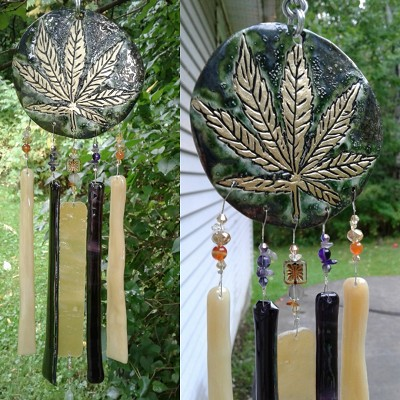 Marijuana Glass Wind Chime Gold Ceramic Pottery Garden Ornament Cannabis Leaf