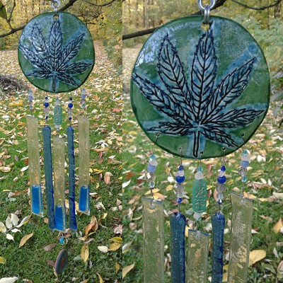 Marijuana Glass Wind Chime Turquoise Green Ceramic Pottery Garden Ornament Cannabis Leaf
