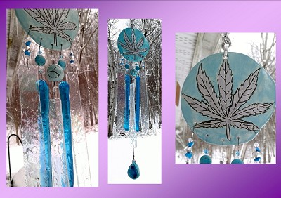 Marijuana Glass Wind Chime Turquoise Silver Ceramic Pottery Garden Ornament Cannabis Leaf