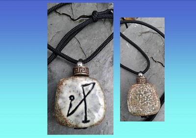 Archangel Michael Necklace Grey Angel Sigil Ceramic Pendant Sacred Protection Amulet