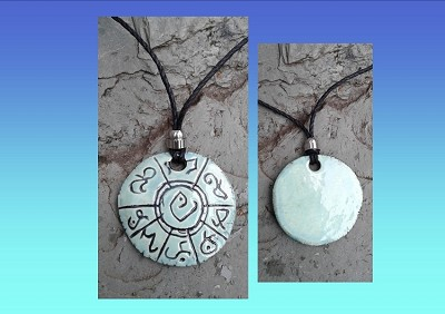 Lemurian Necklace Atlantean Pendant Ceramic Mu Amulet Turquoise Ancient Symbols Light Language
