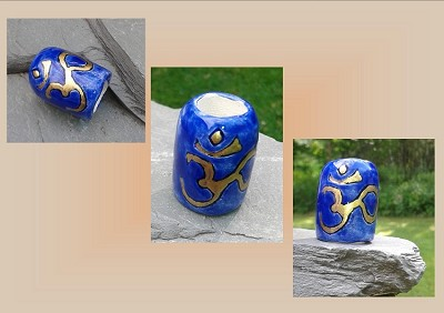 Large Hole Dreadlock Bead, Gold OHM Dread Bead, Hair Accessories, Cobalt Blue Bead, Ceramic Pottery Beads, Handmade Clay Beads