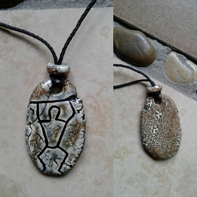 Paddle Man Necklace Hawaiian Pendant Gray Stone Ceramic Amulet South Pacific Ancient Petroglyph