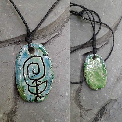 Chaco Fajada Butte Petroglyph Pendant Ceramic Turquoise Green Native American Rock Drawing Amulet
