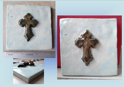 Templar Cross Porcelain Decorative Tile Gold Pale Turquoise Celtic Wall Decor Mosaic Art Fine