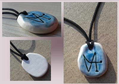 Archangel Gabriel Sigil Blue Porcelain Necklace Pendant Sacred Protection  Ceramic