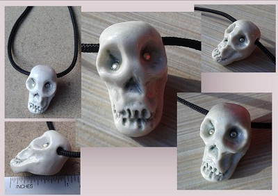 Men's Porcelain Skull Pendant Necklace with Fine Silver Eyes Ceramic Jewelry